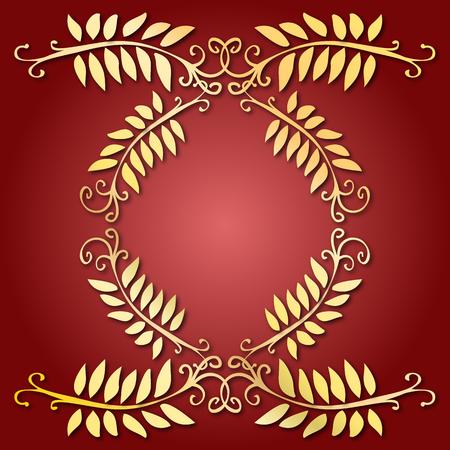 Golden leaves emblem Vector