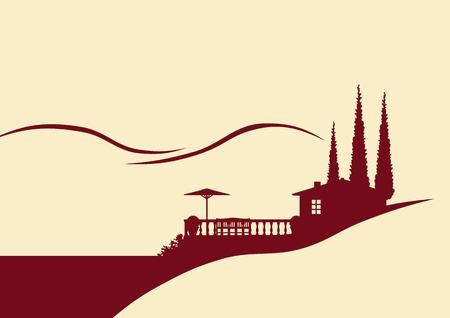 zypresse: Haus und Terrasse