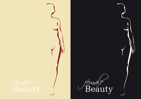 delineation: Nude woman silhouette Illustration
