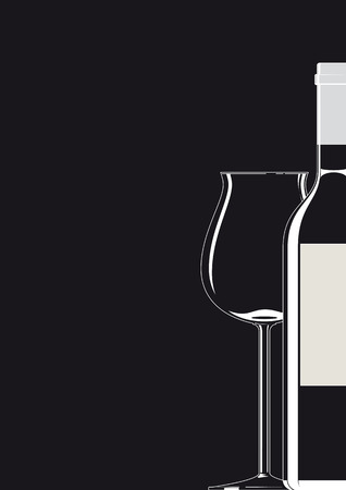 lounge: Bottle and Glass white on black Illustration