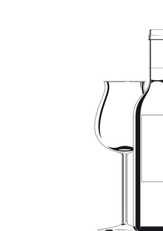 Bottle and Glass black on white Stock Vector - 6984185