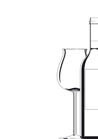Bottle and Glass black on white Illustration