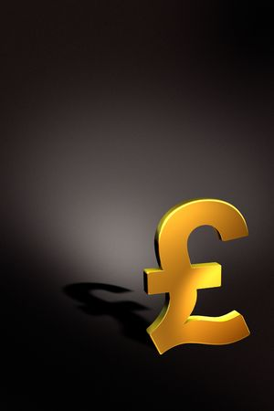 Rendering of a golden pound symbol with dark background photo