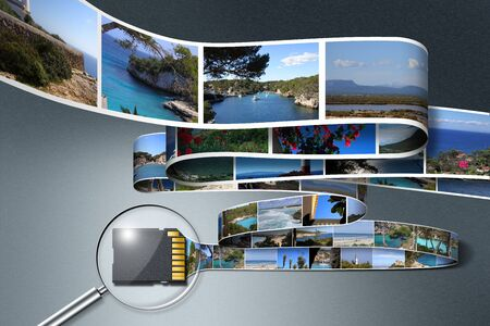 SD card fucused by a magnifying glass saving holiday photos Stock Photo