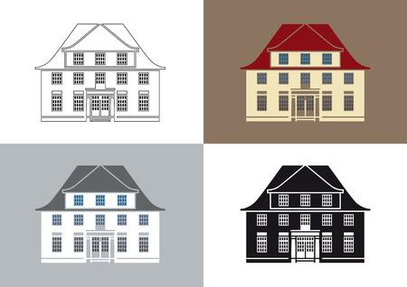 Ilustración estilizada de una antigua villa Ilustración de vector