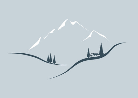 ice climbing: Illustrated simplified logo showing a beautiful mountain scenery
