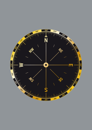 precisely: Illustration of a modern compass with very detailed scale