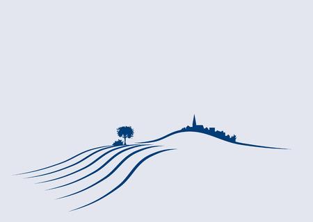Gestileerde illustratie een een agrarische landschap van de Europese