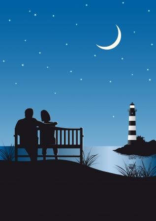lighthouse at night: Ilustraci�n de una pareja y un faro