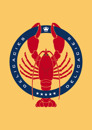 maine: Illustrated logo showing a lobster representing sea food an delicacies