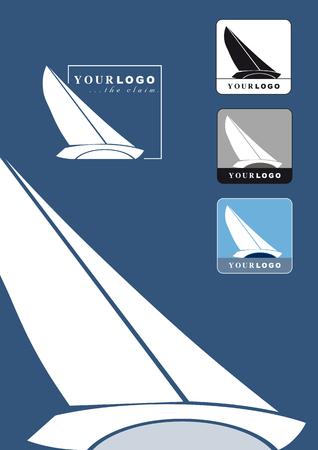 slanted: Ilustraci�n estilizada de una vela yate logo o emblema