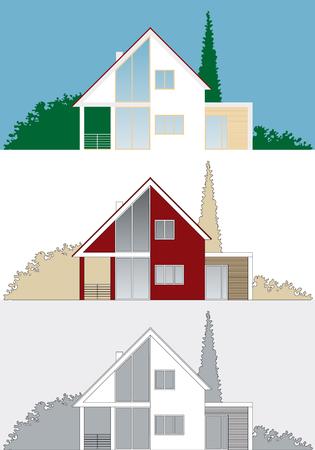 haus garten: Stilisierte Abbildung eines modernen Hauses