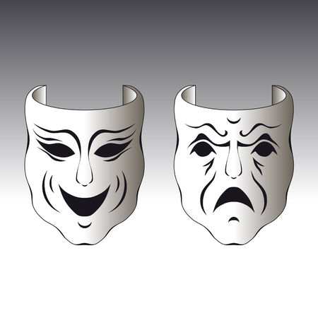 theater man: Illustration of a typical male and female carnival mask Illustration