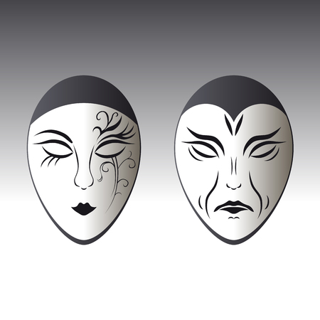 Illustration of a typical male and female carnival mask Vector