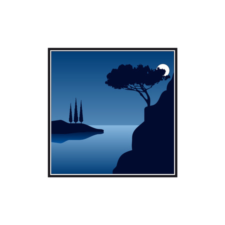 Full moon night at the sea in southern europe Vector