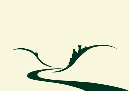 Ilustración estilizada de un viejo castillo alemán típico situada por encima de un río Ilustración de vector