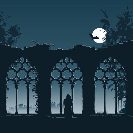 夜に古いゴシック様式修道院の廃墟に入る僧を示す図