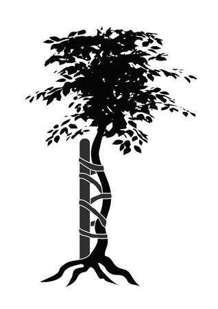 person shined: Illustration of the typical symbol for orthopedic medicals or doctors showing a buckled tree