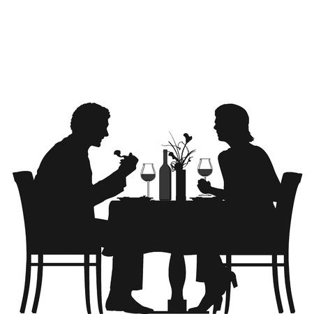 pareja comiendo: Ilustración de una pareja a disfrutar de la cena  Vectores