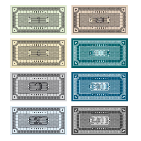one dollar bill: Detailed Illustration of fictive banknotes which can be used as play money