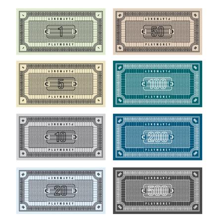 Ilustración detallada de billetes de Banco ficticia que pueden ser usado como jugar dinero