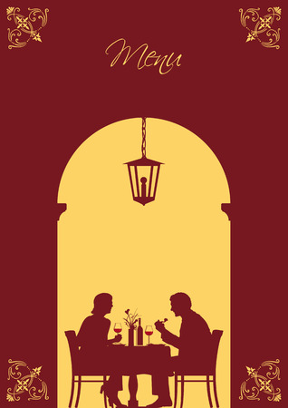 couple date: Illustration of an image that can be used as menu card cover or invitation card