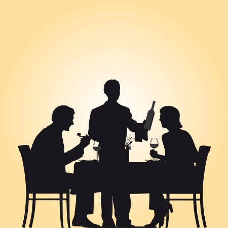 Illustration showing a couple and a waiter in a restaurant