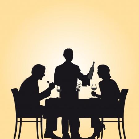 pareja comiendo: Ilustración de una pareja y un camarero en un restaurante