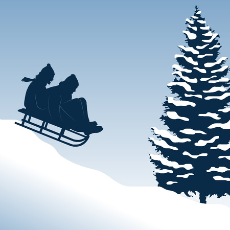woman run: Illustration of a couple having fun on a sled