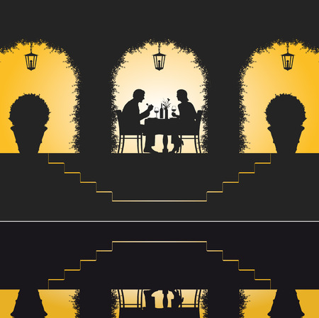 night table: Illustration of a couple enjoying their romantic dinner