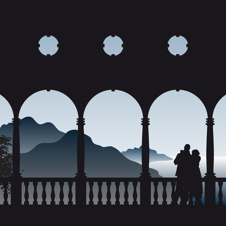 Illustration of a couple on an ancient balcony viewing to the sea