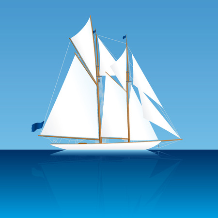 Illustration of an old elegant two-mast sailing yacht Vector