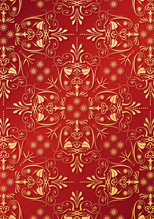 Illustration of an ancient ornament wallpaper or textile texture with golden arabesque  Vector