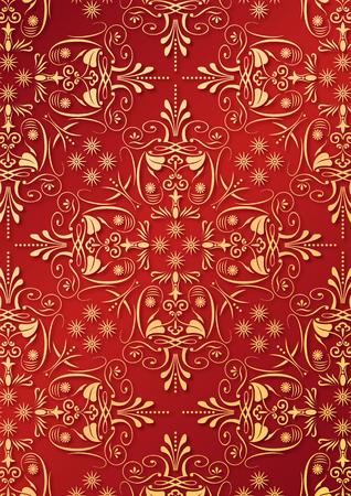 old barn: Illustrazione di una texture di carta da parati o tessili antichi ornamento con golden arabesque