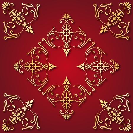 Illustratie van een oude gouden sieraad tegel met een rode achtergrond