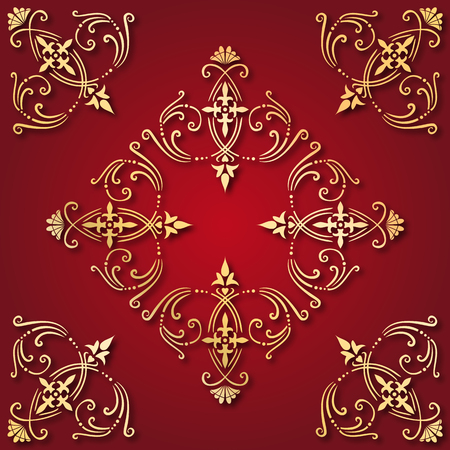 Illustration of an ancient golden ornament tile with red background Vector