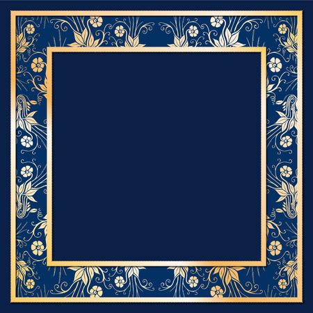 solemn: Ilustraci�n de alivio de marco noble con flores de oro y fondo azul Vectores