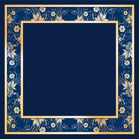 solemn: Noble Frame relief illustration with golden flowers and blue Background