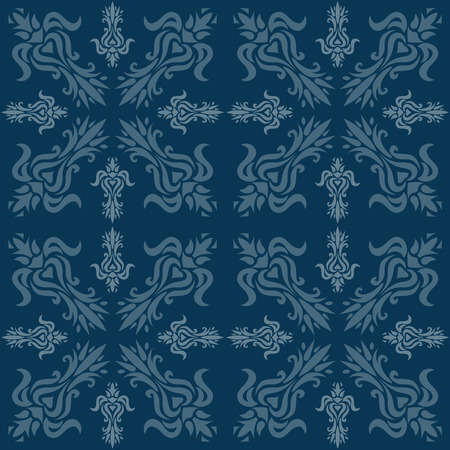 Illustration of a blue ancient baroque ornament wallpaper or textile texture; it can be used continuously Vector