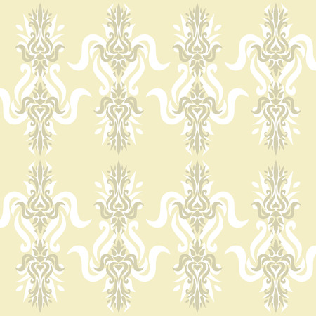 Illustration of a beige ancient baroque ornament wallpaper or textile texture; it can be used continuously Vector