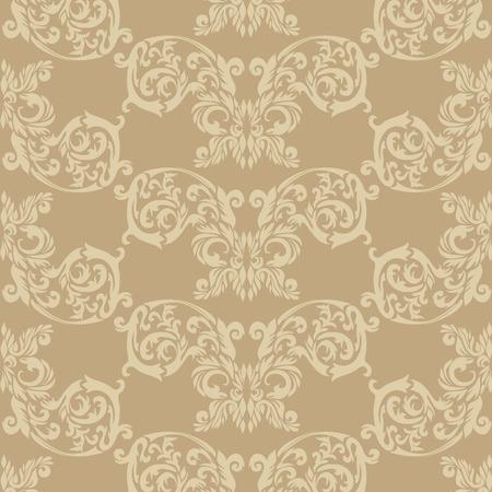 barok ornament: Illustratie van een beige historische barok ornament wall paper of textiel patroon; het kan continu worden gebruikt Stock Illustratie