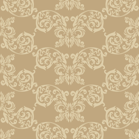 Illustration of a beige historic baroque ornament wallpaper or textile texture; it can be used continuously Vector