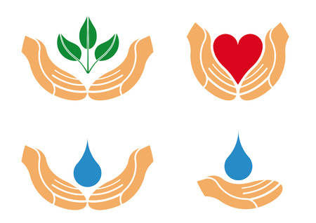 Illustration of helping an protecting hands to be used as Logo, icon or emblem Vector