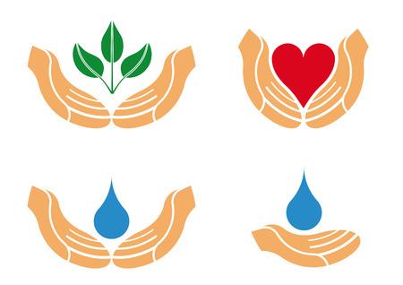 manos logo: Ilustraci�n de ayudar a una protecci�n manos para ser usado como logotipo, icono o emblema