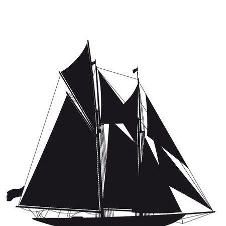 schooner: Illustration of an old elegant two-mast sailing yacht in black an white