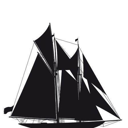 maritimo: Ilustraci�n de una vela de dos-m�stil elegante viejo yate en negro un blanco