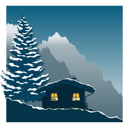 yellow hills: Illustration showing a comfortable ski cottage in the snowy mountains Illustration