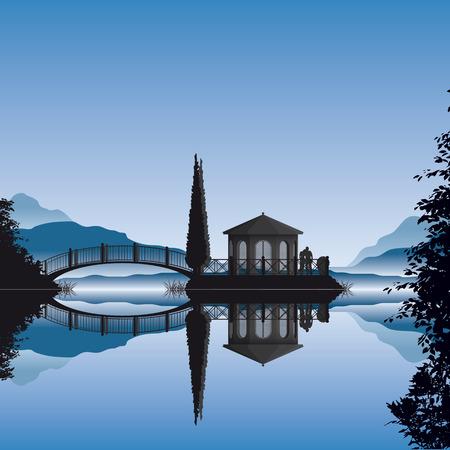 zypresse: Detaillierte Abbildung von einem romantischen Pavillon auf eine kleine Insel in einem See  Illustration