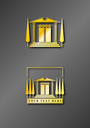 turnaround: Illustration of a stylized ancient golden temple to be used as logo or icon Illustration