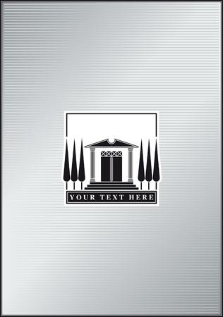 ロゴまたはアイコンとして使用する様式化された古代寺院のイラスト